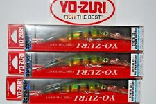 """3 lures yo zuri crystal 3d minnow float jointed deep diver 4 1/8"""" f1159-pc perch"""