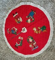 Vintage Classic Red Christmas Tree Skirt w/ Santa Claus Lace Edge Quilted