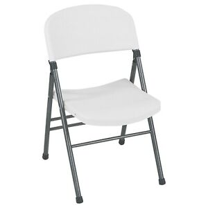 Lifetime Folding Chair Plastic Seat Almond Outdoor Safe Plastic (Set of 4)