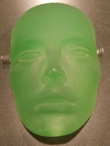 VINTAGE GREEN GLASS MASK SCULPTURE WALL HANGING