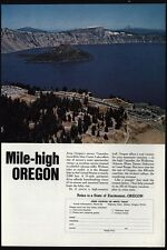 1968 CRATER LAKE - Wizard Island - Lodge - CASCADE Mountains - OREGON VINTAGE AD