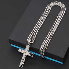 Mens Stainless Steel Cross Gold Silver Prayer Necklace Crucifix Rope Cuban Chain