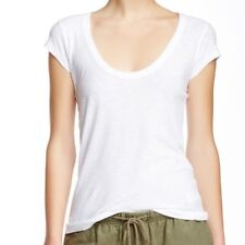 NWT JAMES PERSE Sz2(M) CASUAL SHEER SCOOP NECK CAP SLEEVE TEE IN WHITE.