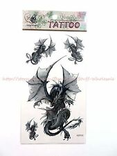US SELLER- fire dragon temporary tattoo Stick on Tattoos for Adults