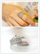Gemma Top Quality Crystal  Crown Ring Set Women  Gift Beautiful Silver Plated