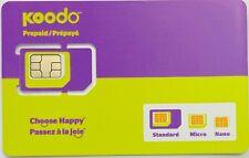 Koodo Mobile Prepaid Multi SIM Card 3in1 Nano, Micro Standard size LTE Wireless