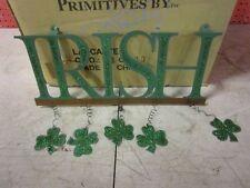 Irish Metal Sign With Dangling Shamrocks New St Patricks Day