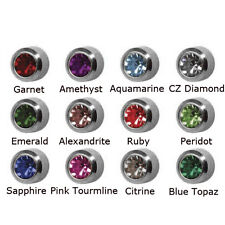12 Pairs Birthstone Stainless Steel Ear Piercing Highest Quality Earrings 4mm
