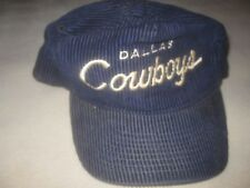 Vtg Corduroy Dallas Cowboys Hat The Cord Zip Back Script Team NFL Football Blue