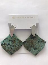 NWT Kendra Scott Astoria Drop Dangle Statement Earrings Silver African Turquoise