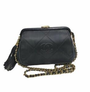 Chanel 1980's Vintage Kiss Lock Mini Tassel Black Sateen Bag