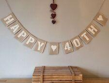 40th Birthday Bunting Banner Vintage Hessian Burlap Rustic