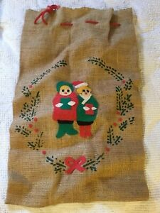 Vintage Burlap SANTA SACK decorated with FELT CAROLERS Red, Green, Yellow & wt.