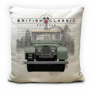 Personalised Land Rover Series 1 Classic Car Cushion Cover Gift Your Name 16inch