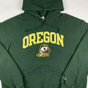 Champion Oregon Ducks Hoodie Sweatshirt Mens 2XL Green Yellow Logo