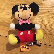 Mickey Mouse Vintage 70s Felpa Muñeca Disney 0223-9052 SENTADO PELUCHE ANIMALES JUGUETES Arco