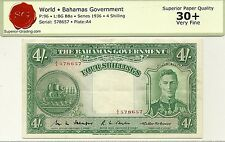BAHAMAS GOVERNMENT 4 SHILLINGS 1936  P-9b KING GEORGE VI - BOLD VERY FINE + NOTE
