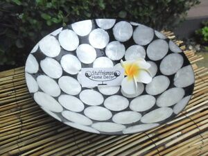 Balinese Capiz Shell & Resin Bowl - Large Bowl - mother of pearl shell pieces