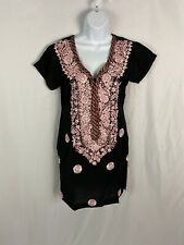 Black/ Pink Embellished Cotton Kurta Back Zipper, Side Slits at Hem Size Medium
