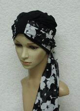 Women's turban hat with scarf, two piece head wear, knotted turban & scarf
