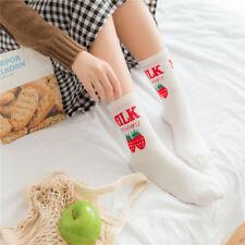 Women Ankle Socks Kawaii Harajuku Japanese Strawberry Milk Printing White Socks