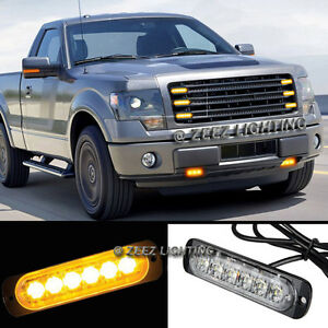 1X 6 LED Amber/Yellow Emergency Hazard Warning Strobe Beacon Caution Light Bar93