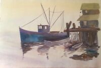 FINE ART ORIGINAL SIGNED COLLEEN WATERCOLOR PAINTING IN ARCHES FRANCE PAPER SEA