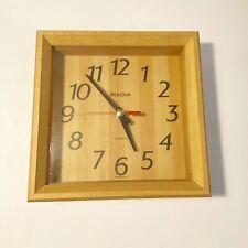 Bulova Light Wood Wall Quartz Clock Square Black Numbers