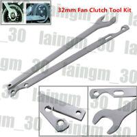 Silver 32mm Fan Clutch Nut Wrench Water Pump Holder Removal Tool Kit Steel