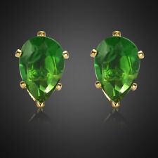 Fashion Jewelry Lady Green Emerald Earings Yellow Gold Plated Stud Earrings New