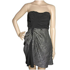 Ladakh Womens Dress Size 8 Black Silver Strapless Gathered Textured