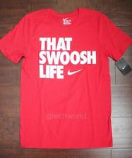 New Men Nike Crew Neck Tee T-shirt Top Short Sleeve Graphic Print Red Small S