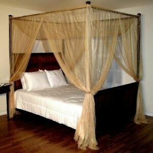 Gold Four 4 Post Bed Canopy Netting Curtains Sheer Panel Fabric Corner ANY SIZE