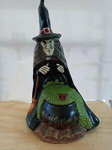 Vintage Ceramic Witch and Cauldron Halloween Statue