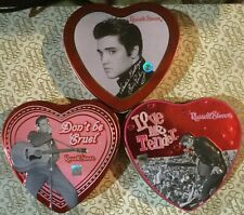 "Elvis Presley - Vintage Set Of Three Tin Valentine Hearts - 4-3/4"" - 2 Embossed"