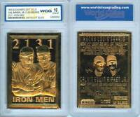 Cal RIPKEN & Lou GEHRIG 1995 Iron Men 23KT Gold Card Sculpted Graded GEM MINT 10