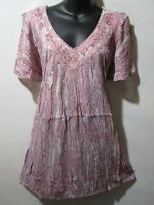 Top Fits 1X 2X 3X Plus Tunic Purple Pink A Shaped Short Sleeve V Neck NWT 5780