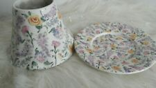 YANKEE CANDLE FLORAL LILAC ROSE CANDLE SHADE AND PLATE