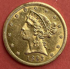 1893-CC LIBERTY HEAD HALF EAGLE $5 DOLLAR GOLD COIN NICE CARSON CITY RARE
