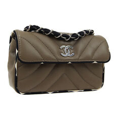CHANEL Quilted CC Logos Single Chain Shoulder Bag Purse Brown Leather A51870