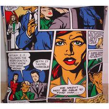 "NEW 18"" Cushion Cover Retro Pop Art Comic Strip Betty Red Blue Black Modern"