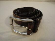 """Men's Vintage Distressed & Discolored Leather Roller Buckle Belt (46"""" Long)Large"""