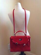 VTG Gianni Versace Couture Red Leather Satchel Crossbody Handbag Bag Purse