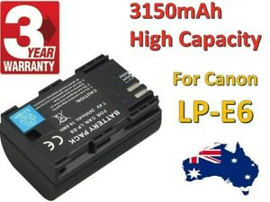 High Capacity 3150mAh Battery for Canon LP-E6, LP-E6N and Canon EOS + Warranty