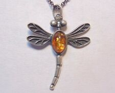 Vintage Jewelry Sterling Silver 925 Baltic Amber Dragonfly Bug Pendant Necklace