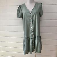 LINEN LUX Green Short Sleeve Cotton/Linen Button Down Shift Dress - Size 10