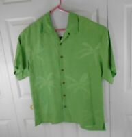 Tommy Bahama Men's Large 100% Silk Short Sleeve Green Shirt