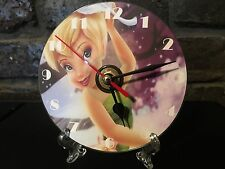 Repurposed Cd's & DVD's  Clocks  Wall/Mantel  - TinkerBell Clock With Free Stand