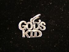 "Sterling Silver Alcoholics Anonymous Pendant AA Saying God's Kid 9/16"" Tall  813"