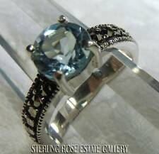 7.5 mm rd TOPAZ with MARCASITE STERLING SILVER 925 ESTATE ENGAGEMENT RING size 6